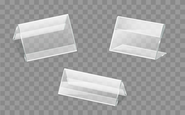 Nameplates plastic or acrylic holders vector set