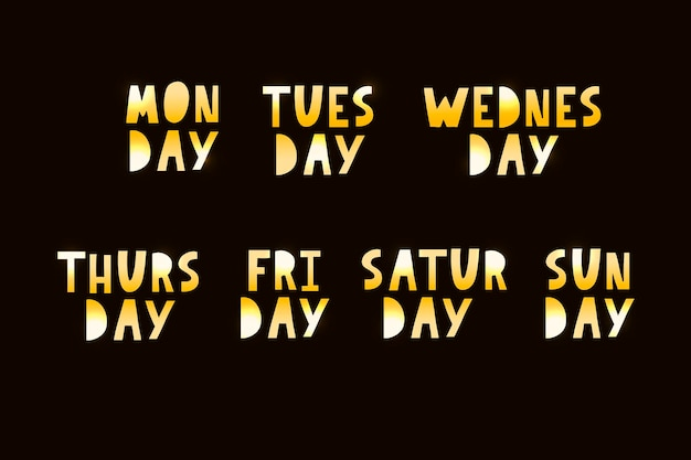 Names of days of the week, vintage grunge typographic, uneven stamp style lettering for your calendar designs