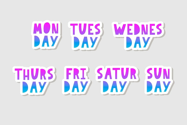 Names of days of the week vintage grunge typographic uneven stamp style lettering for your calendar