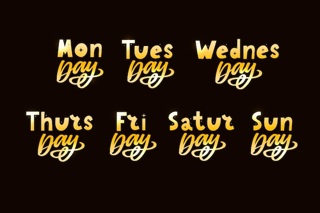 Names of days of the week vintage grunge typographic uneven stamp style lettering