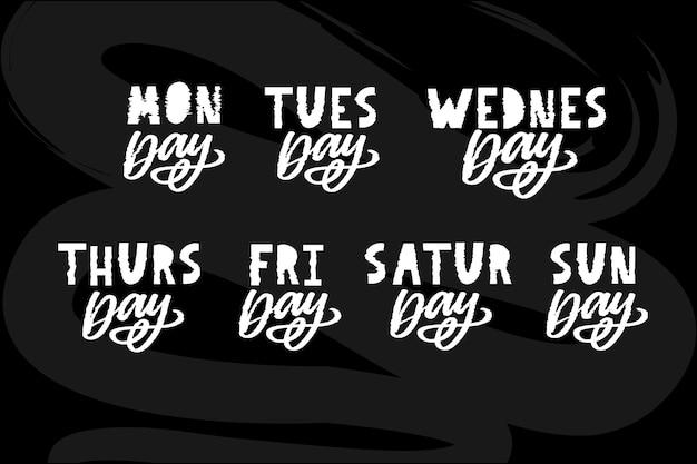 Названия дней недели, винтажные типографские шрифты в стиле гранж, неровные надписи в стиле штампа для дизайна календаря