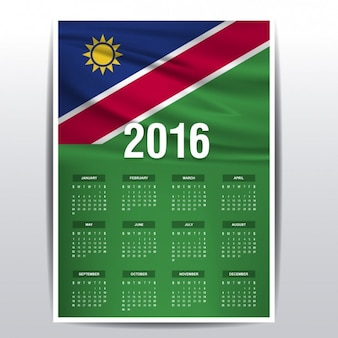 Namibia calendar of 2016