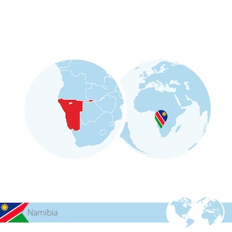 Namibia on world globe with flag and regional map of namibia. vector illustration.