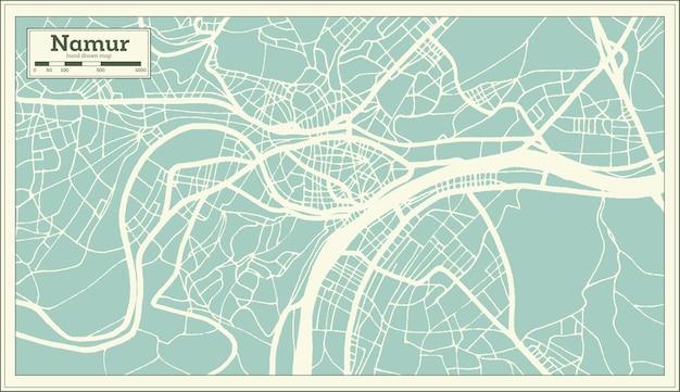 Карта города намюр в стиле ретро