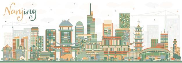 色の建物と南京中国のスカイライン。ベクトルイラスト。近代建築と出張と観光のイラスト。