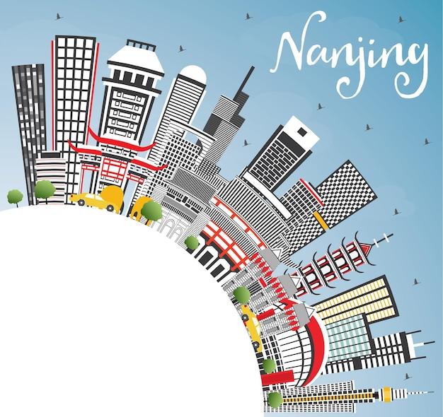 Nanjing china skyline with gray buildings, blue sky and copy space. vector illustration. business travel and tourism illustration with modern architecture. nanjing cityscape with landmarks.