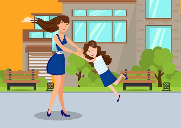 Nanny spend time with kid cartoon illustration