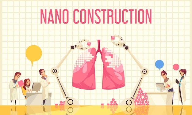 Nano construction flat illustration with group of scientists watching unique operation over recovery of lung by nanotechnologies