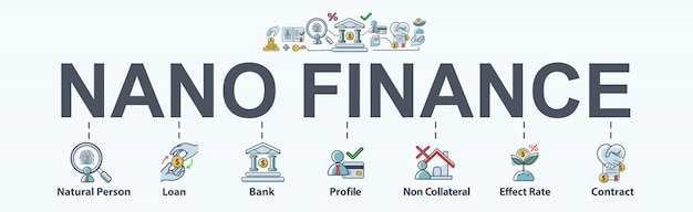 Nano finance banner web icon for business and personal financial.