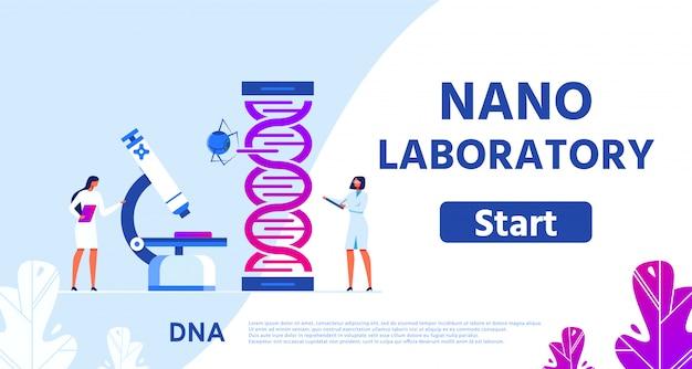 Нано лаборатория генетических исследований flat webpage