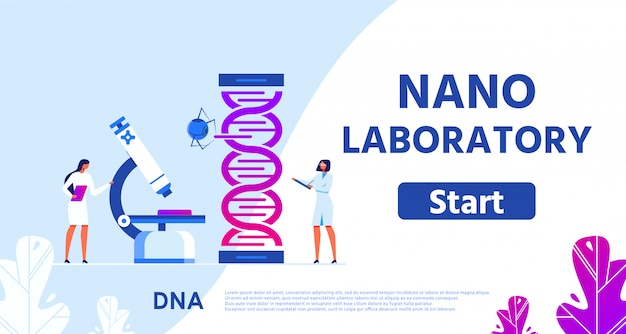 Nano laboratory for genetic research flat webpage