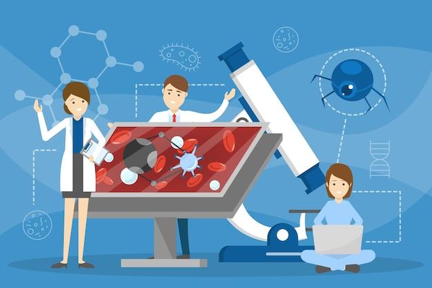 ナノロボットのコンセプト。医学と未来の技術のアイデア