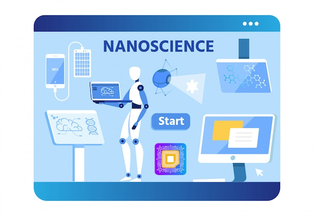 Nano science banner with flat robot scientist