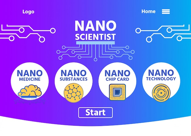 Nano scientist landing page with buttons menu