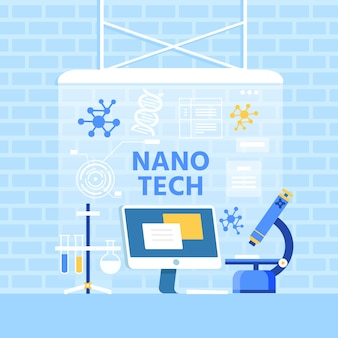 Nano tech ad flat metaphor banner in loft style