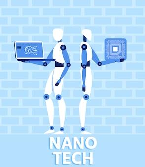 Nano tech и искусственный интеллект плоский баннер