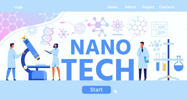 Nano tech lettering landing page with start button