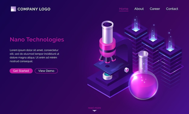 Nano technologies science isometric landing page