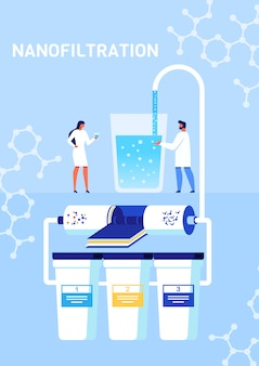 Nanofiltration process presentation cartoon poster