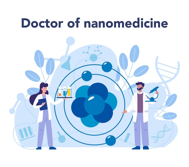 Nanomedic. scientists work in labarotary on nanotechnology. nanomedicine apply the knowledge of nanotechnology to make cure and prevent the treatment of disease.