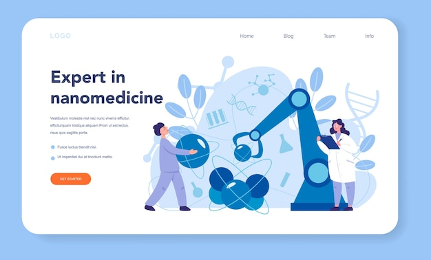Nanomedic web banner or landing page. scientists work in labarotary on nanotechnology. nanomedicine make cure and prevent the treatment of disease. .