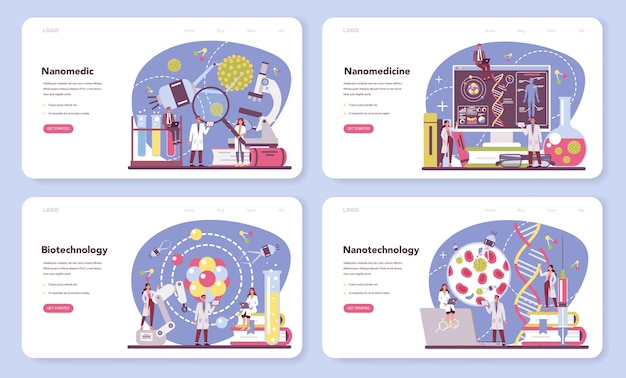 Nanomedic web banner or landing page set. scientists work in labarotary on nanotechnology.