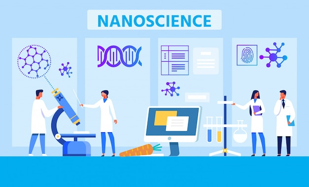 Nanoscience lab metaphor advertising flat banner
