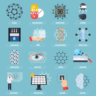 Nanotechnologies icons set