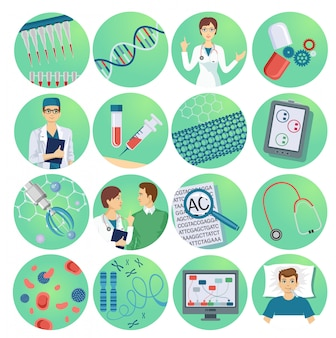 Nanotechnology flat icons set with scientists microchips and drugs