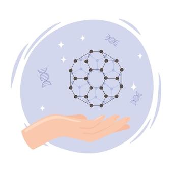 Nanotechnology hand with molecule