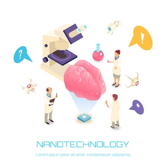 Concetto isometrico di nanotecnologia con bianco di simboli di scienza del cervello isolato