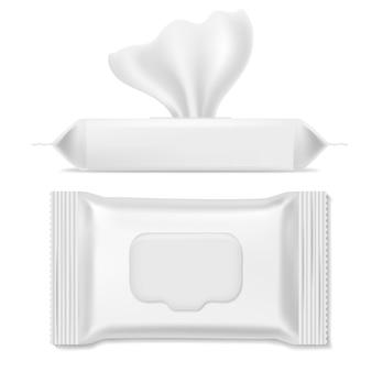 Упаковка для салфеток. антибактериальные пакеты, влажные салфетки гигиенические бумажные салфетки для рук макияж чистый шаблон макет упаковки, реалистично