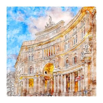 Неаполь кампания италия акварельный эскиз рисованной иллюстрации