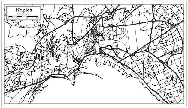 복고 스타일의 나폴리 이탈리아 도시 지도입니다. 개요 지도. 벡터 일러스트 레이 션.