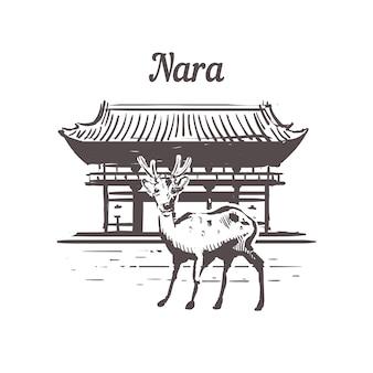 Пейзаж нара с оленями, япония