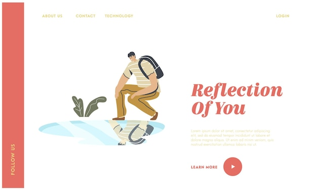 Narcissism self-assessment and personal appearance landing page template.