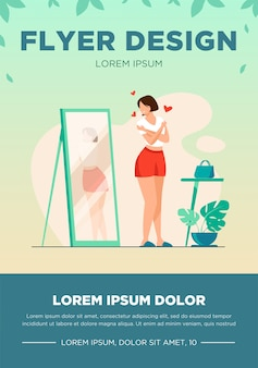 Narcissist lady standing at mirror and looking at reflection of her back. young woman trying shirt on, hugging herself. vector illustration for self love, self-esteem, female behavior concept