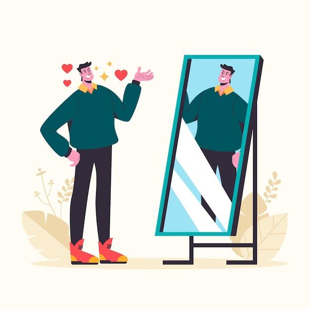 Самовлюбленный мужчина смотрит в зеркало и влюбляется в себя.