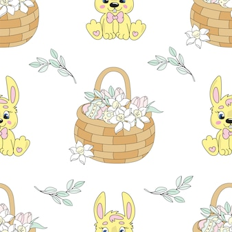 Narcissus bouquet easter seamless pattern