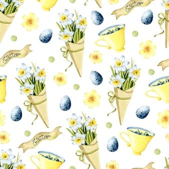 Нарцисс букет акварель пасха бесшовный фон