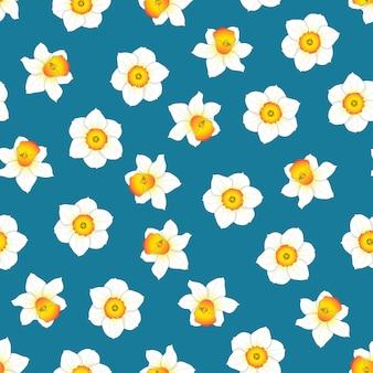 Цветок нарцисса на голубом фоне индиго