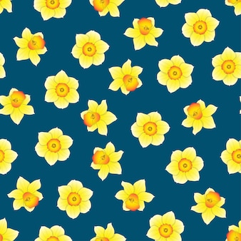 Narcissus Flower on Indigo Blue Background