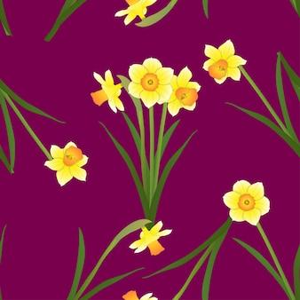 Нарцисс на красной фиолетовом фоне