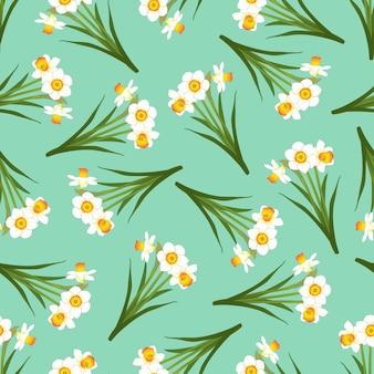 Нарцисс бесшовные на фоне зеленой мяты
