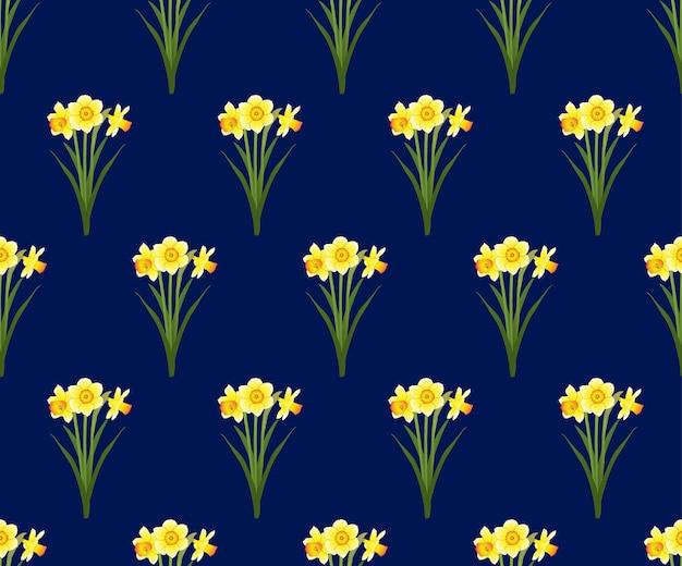 Нарцисс бесшовные на синем фоне