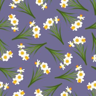 Нарцисс бесшовные на фиолетовом фоне