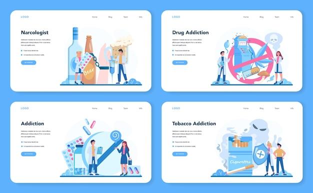 麻薬専門家のウェブバナーまたはランディングページセット。