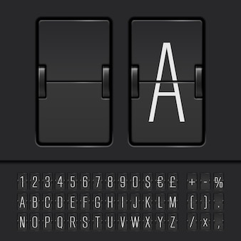 Narrow flip scoreboard alphabet with numbers and symbols
