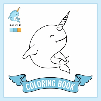 Narwhal animals coloring pages book