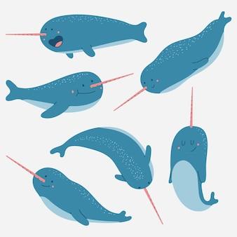 흰색 배경에 고립 된 일각 고래 벡터 만화 캐릭터 집합입니다.